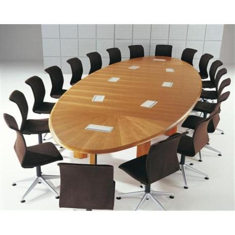 Table de conférence Couleur bois forme ellitpique