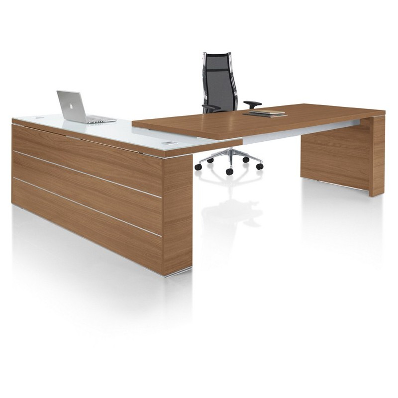 Bureau direction design kara avec retour mobilier de bureau for Bureau de direction